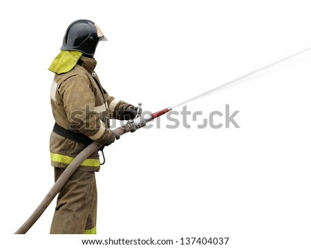 Firefighter working with fog nozzle. Isolated on white background - stock photo