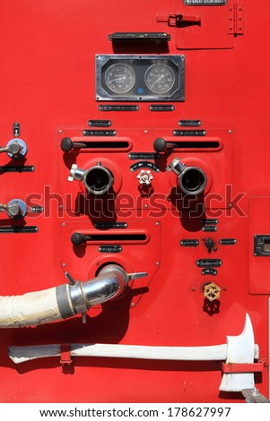 Firefighters car equipment in detail - stock photo