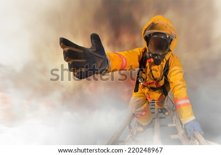 Firefighters rescued the survivors - stock photo