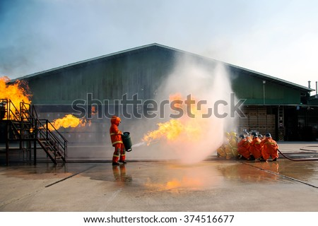 Firefighters training, The Employees Annual training Fire fighting - stock photo