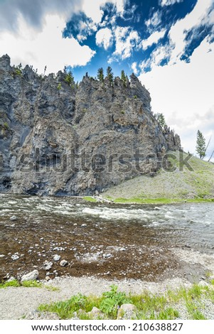 Firehole Canyon and Firehole River. - stock photo