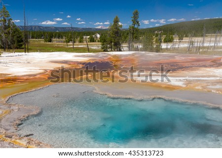 Firehole Spring at Lower Geyser Basin, Yellowstone National Park, Wyoming, USA - stock photo