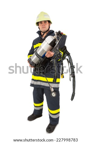Fireman in uniform isolated in white - stock photo