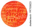 fireman info text graphic and arrangement concept on white background - stock photo