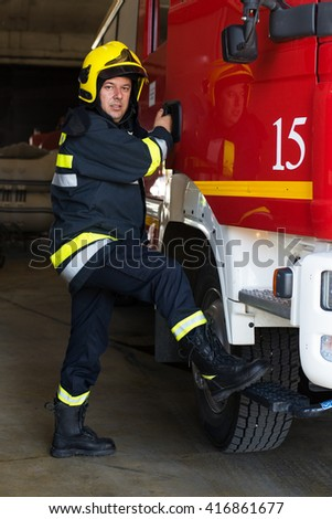 Fireman on duty,under ehposed photo - stock photo