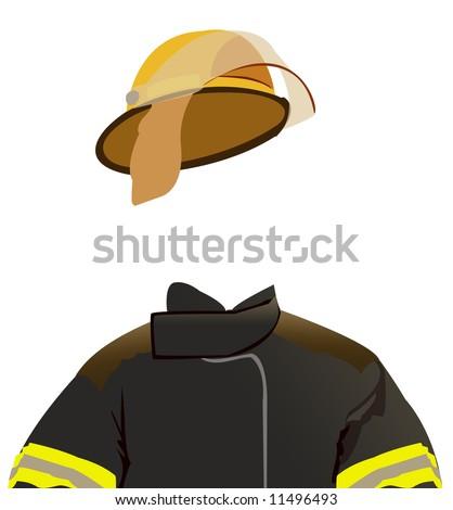 Fireman uniform - invisible man series - stock photo