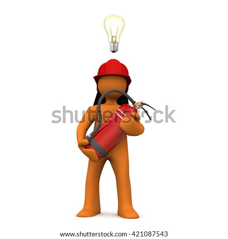 Fireman with extinguisher and bulb on the white. 3d illustration.  - stock photo