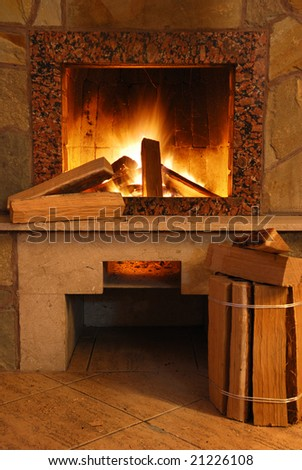 Fireplace - stock photo