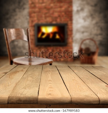 fireplace and chair  - stock photo