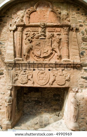 Fireplace and Hearth within bedroom of Ancient Huntly Castle, Scotland - stock photo