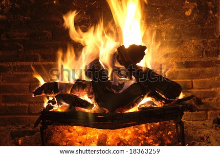 Fireplace (Close-up) - stock photo