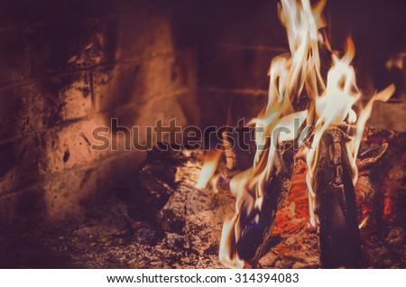 fireplace fire - stock photo