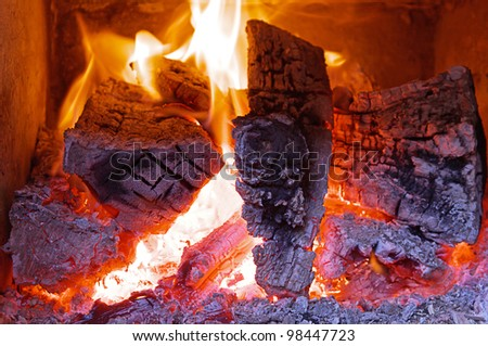 Fireplace home Interior - stock photo