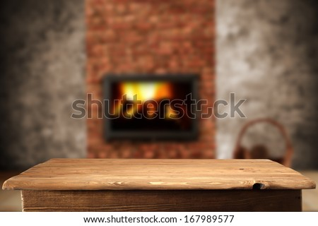 fireplace in interior  - stock photo