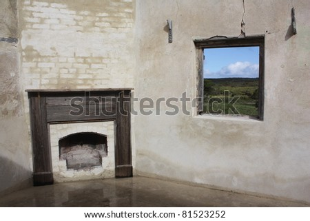 Fireplace in the country - stock photo