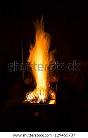 fireplace in wild camping at night - stock photo