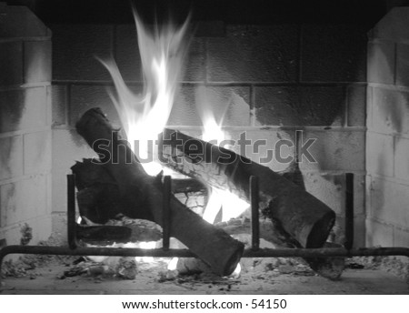 Fireplace in Winter - Black & White - stock photo