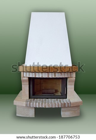 Fireplace made of brick and stone,  with white chimney on a green background  - stock photo