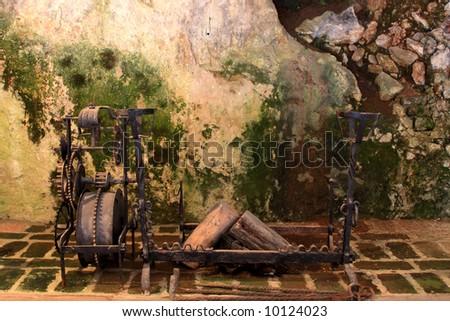 Fireplace of an old castle - Predjama Slovenia - stock photo