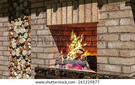 Fireplace with wood burning fire and in  niche. 3D rendering, - stock photo