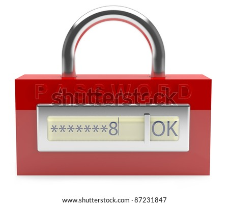 Firewall concept. Lock with password. 3D model - stock photo