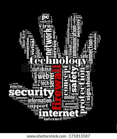 Firewall in word collage - stock photo