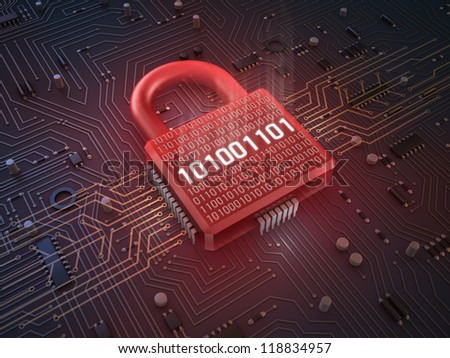 Firewall lock on mainboard , concept background - stock photo
