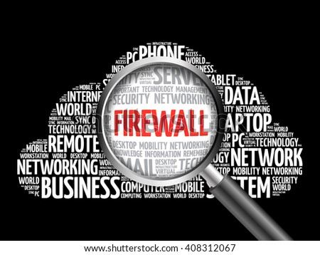 FIREWALL word cloud with magnifying glass, business concept - stock photo