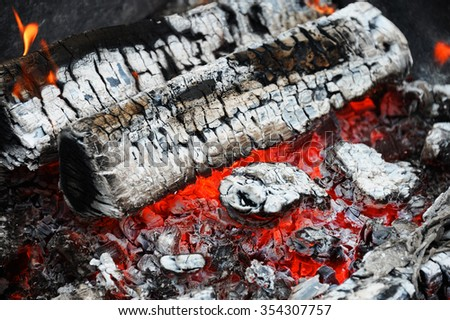 firewood ash after fire - stock photo