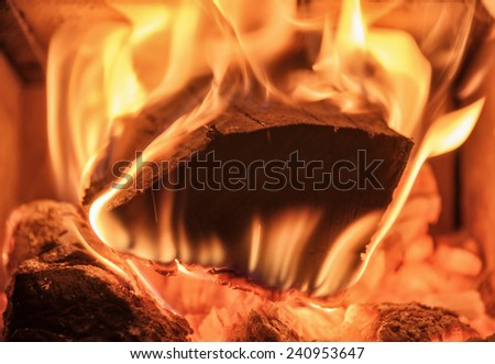 firewood burning in a stove - stock photo