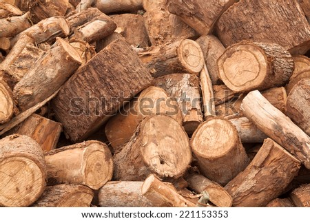 Firewood for home heating during the cold season - stock photo
