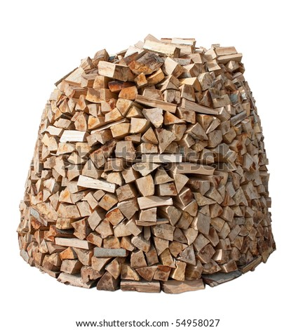 Firewood stack isolated over white. Clipping path included. - stock photo