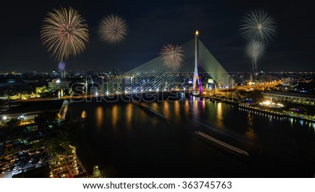 Firework at Rama VIII Bridge Thailand. - stock photo