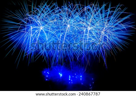 Firework Blast at 1st of january 2015 celebration in Chiang Mai Thailand. - stock photo