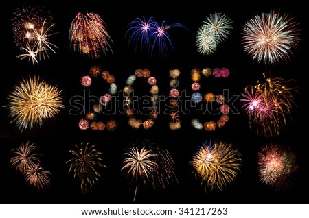 Firework Bursts Arranged in 2015 and Framed - stock photo
