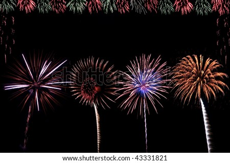 firework bursts with text space - stock photo