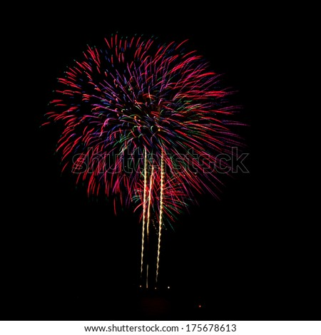 Firework celebration at the beach, Hua Hin, Thailand. - stock photo