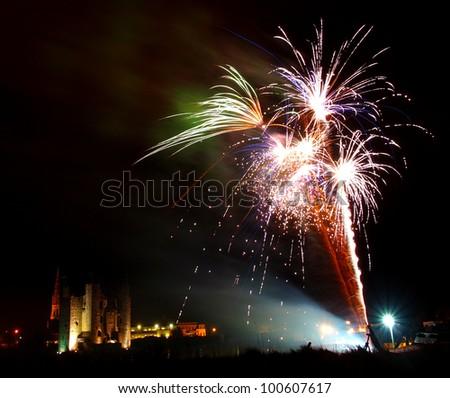 Firework display at Trim castle, Ireland - stock photo