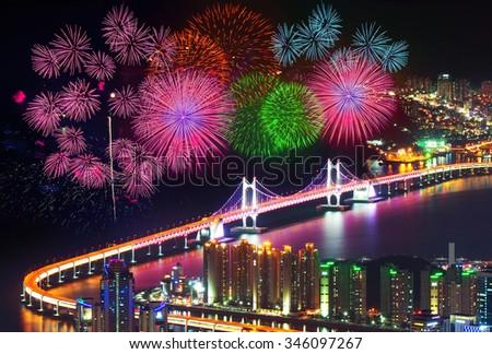 Firework festival at GwangAn Bridge in Busan,South Korea. - stock photo