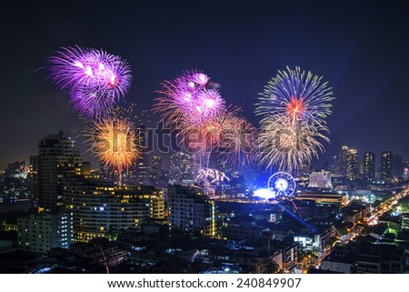Firework in front of Asiatique, bangkok city, Thailand  - stock photo