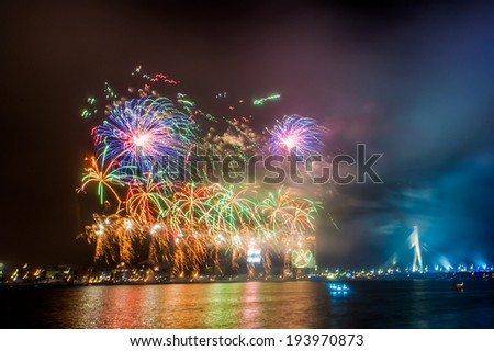 Firework in Riga on December, 31th, 2013 - stock photo