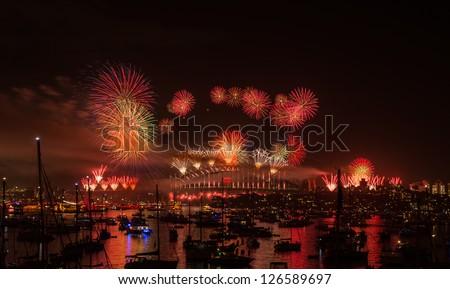 Firework new year eve 2013 Sydney, Australia. Sydney habour bridge. - stock photo