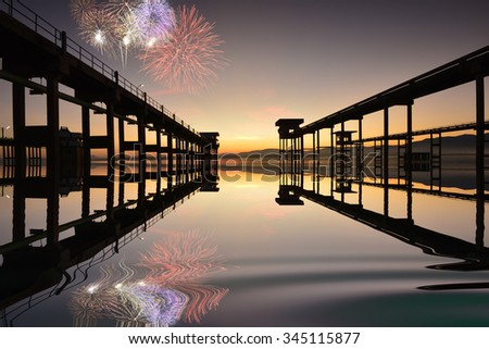 Firework the view form  Bridge cement to pump water above the reservoir. - stock photo