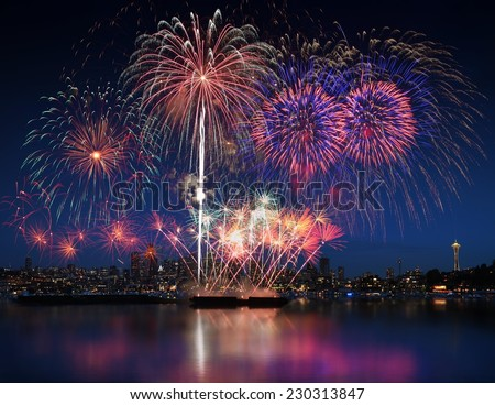 Fireworks and Seattle sky line - stock photo
