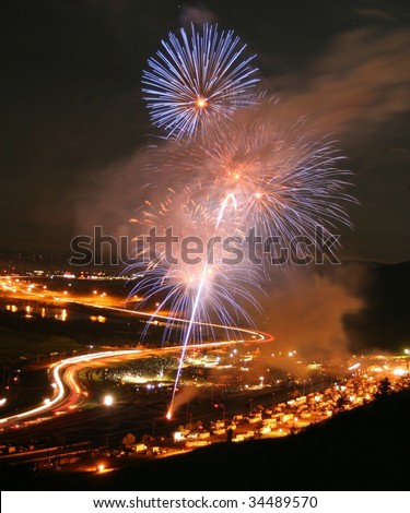 Fireworks at Bandimere Speedway in Morrison, Colorado.  Taken on July 4, 2009. - stock photo