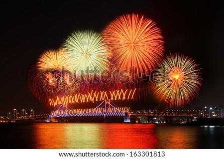 Fireworks at Busan, South Korea - stock photo