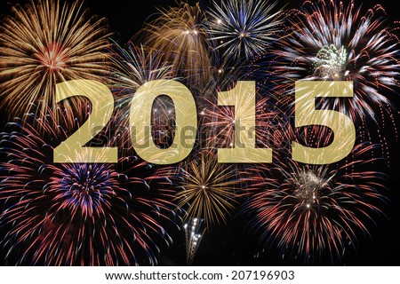 fireworks at new year`s eve 2015 - stock photo