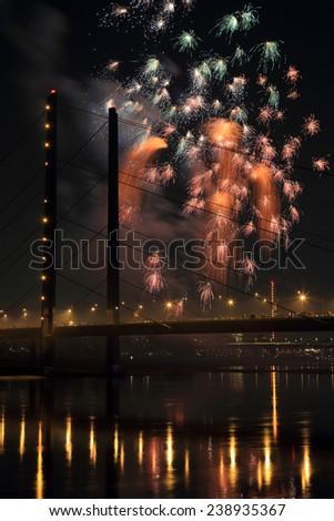 Fireworks at the Rheinknie bridge in Dusseldorf - Germany - stock photo