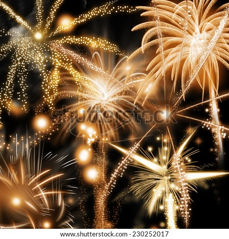 Fireworks background for New Year, Independence Day or Festival celebration with assorted colorful gold rockets bursting in an elegant fiery pyrotechnic display against a night sky in square format - stock photo