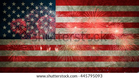 Fireworks background for 4th of July Independense Day. - stock photo